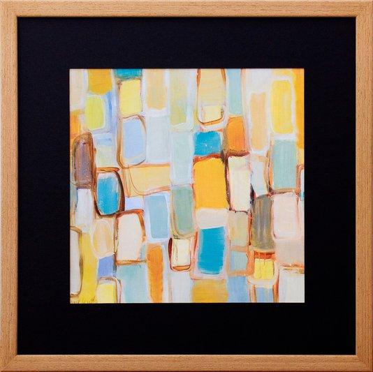 Quadro Abstrato Decorativo Colorido com Moldura Rústica 45x45cm