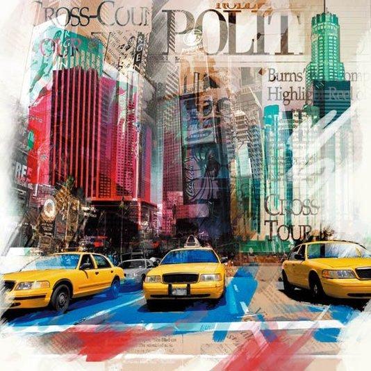 Quadro Tela Decorativa Colorida Nova Iorque Táxis Amarelos 60x60cm