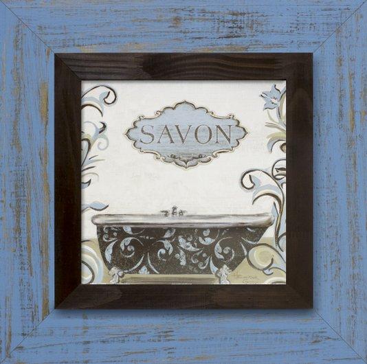 Quadro Decorativo Rústico Banheira e Sabão s/ Vidro 50x50cm