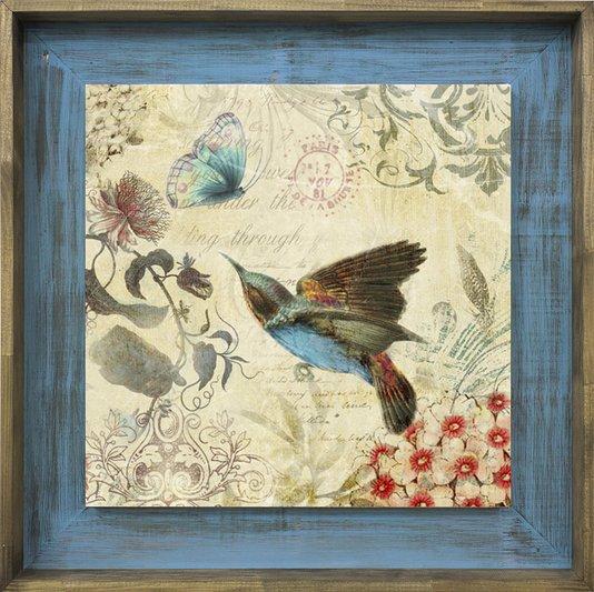 Quadro Tela Decorativa com Moldura Marrom e Azul Passarinho Beija-Flor e Borboleta 50x50cm