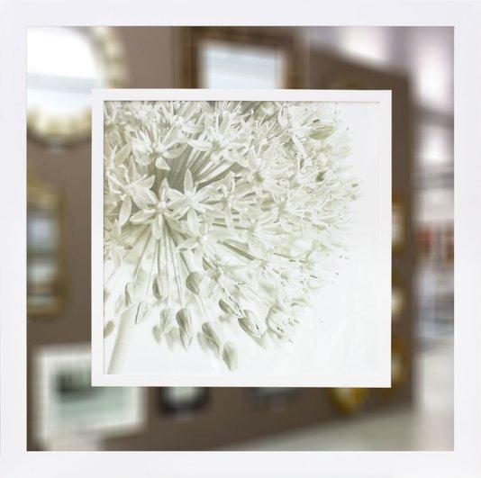 Quadro com Moldura Branca Moderno com Espelho Floral 90x90cm