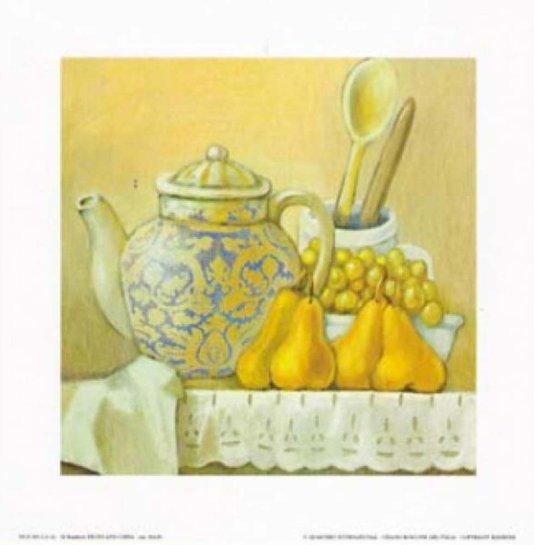 Gravura para Quadros Frutas Amarelas e Recipientes 20x20cm
