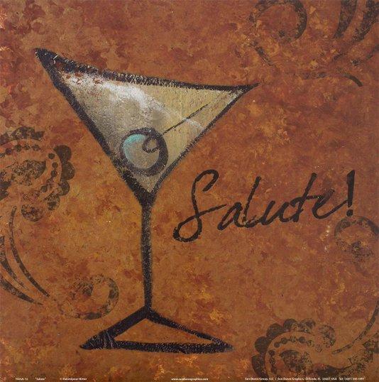 Gravura para Quadros Dry Martini Salute 30x30cm