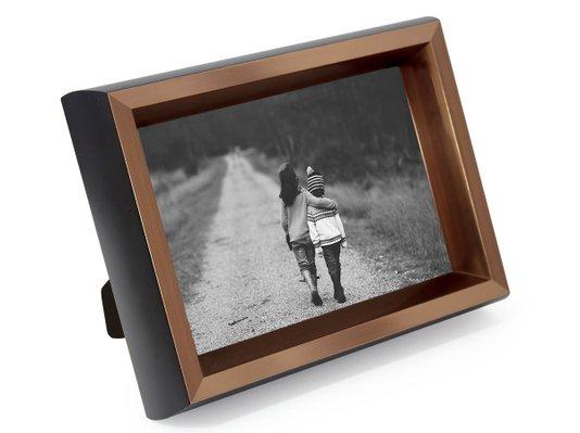 Porta Retrato para 1 Foto 15x21cm Moldura Bronze e Preta Laqueada