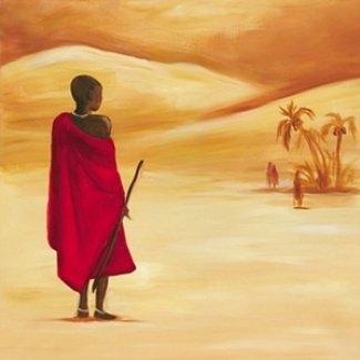 Gravura para Quadros Africana Menino no Deserto 30x30cm