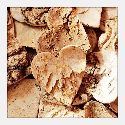 Quadro Pequeno Decorativo Coração de Madeira Moldura Branca