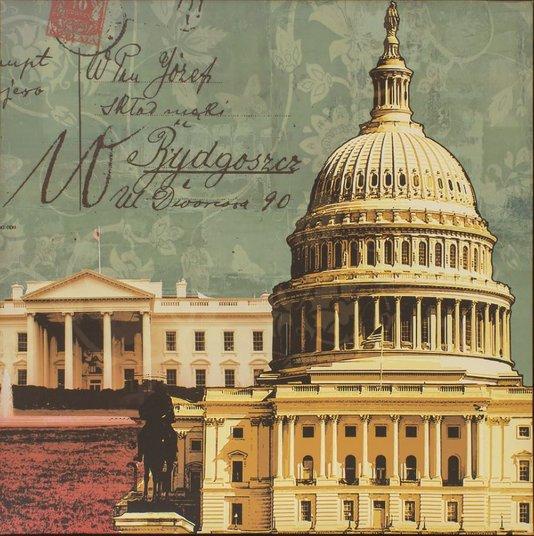 Quadro Tela Impressa Capitólio e Casa Branca Estados Unidos 60x60cm
