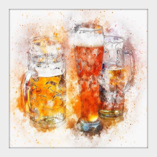 Quadro Pequeno Decorativo Aquarela Beer Chopp com Moldura Branca