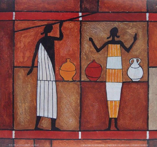 Gravura para Quadros Africana Colorida Mulheres 18x18cm