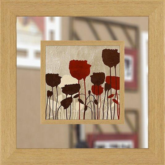 Quadro com Espelho Decorativo Flores Vermelhas 65x65cm - DP1607