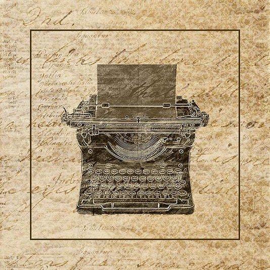 Gravura para Quadros Vintage Maquina de Escrever 30x30cm