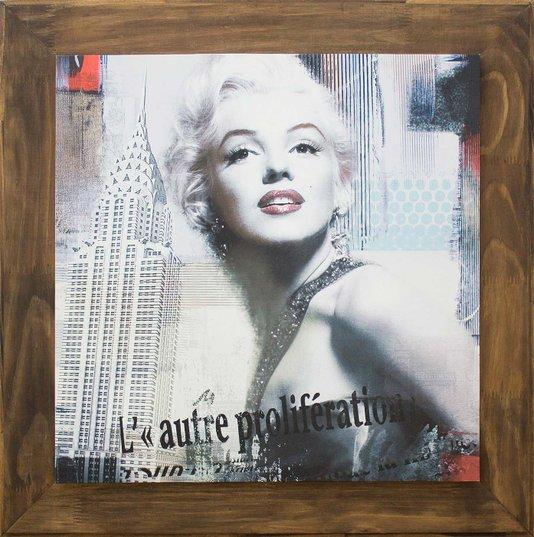 Quadro Tela Decorativa Emoldurada Marilyn Monroe Nova York II - 80x80cm