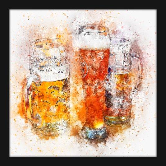 Quadro Pequeno Decorativo Aquarela Beer Chopp