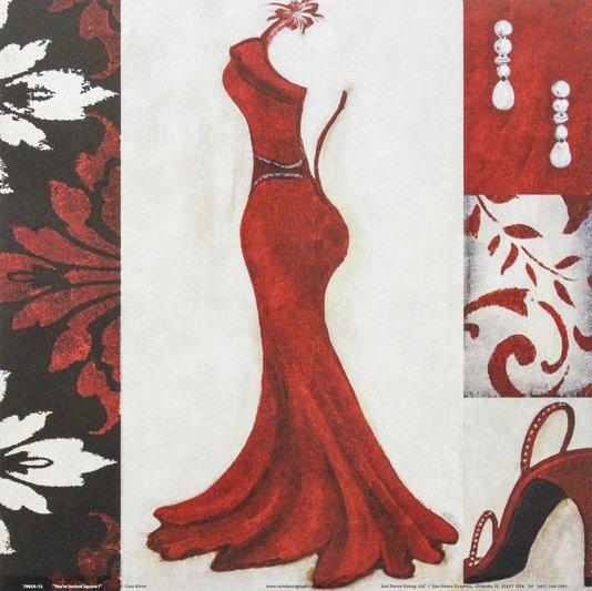 Gravura para Quadros Closet Vestido Vermelho 30x30cm