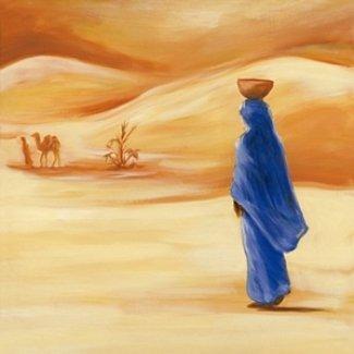 Gravura para Quadros Mulher com Roupa Azul no Deserto 30x30cm