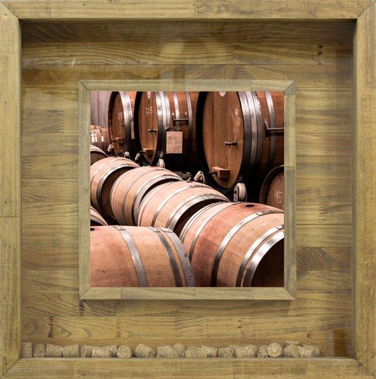 Quadro Porta Rolhas Adega de Vinhos Barril 60x60cm