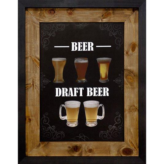 Quadro Decorativo de Cerveja Rústico Beer, Draft Beer 70x90cm