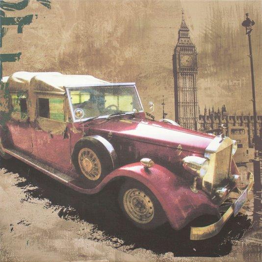 Quadro Tela Decorativa Carro Antigo Vermelho 60x60cm