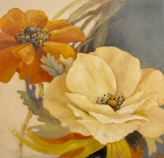Gravura para Quadros Flor Papoula em Plena Floração 69x69cm