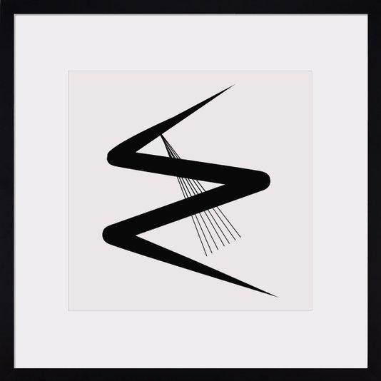 Quadro Decorativo Arte Moderna Abstrata com Moldura Preta III 60x60cm
