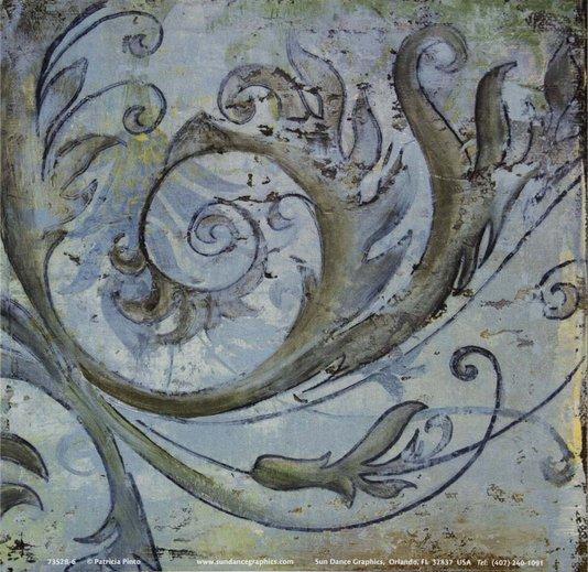 Gravura para Quadros Folhas Abstratas Azul 15x15cm