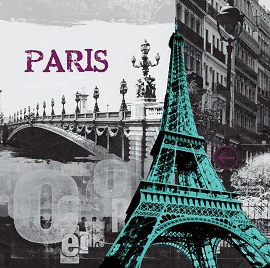 Quadro Tela Impressa Paris - Torre Eiffel 60x60cm