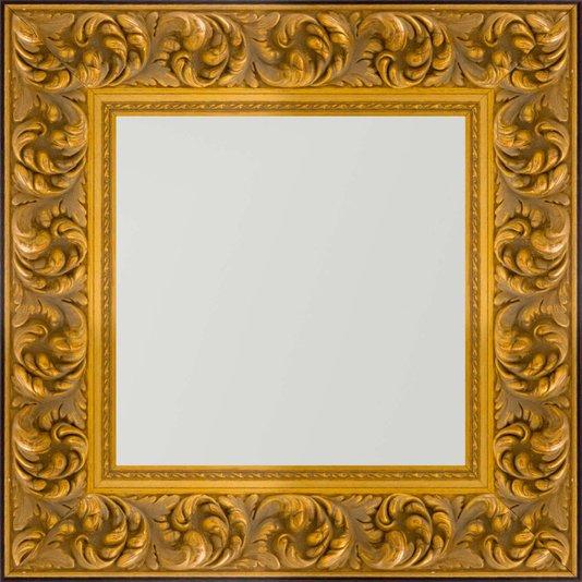 Espelho com Moldura cor Dourado Envelhecido e Preto 50x50cm