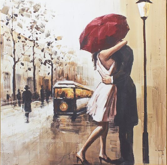 Quadro Tela Decorativa Casal se Beijando na Chuva 60x60cm