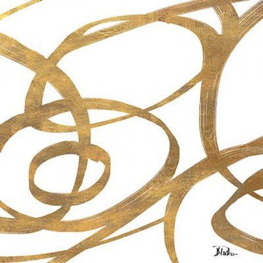 Gravura Abstrata para Quadros Redemoinhos de Ouro I de Patricia Pinto 60x60cm