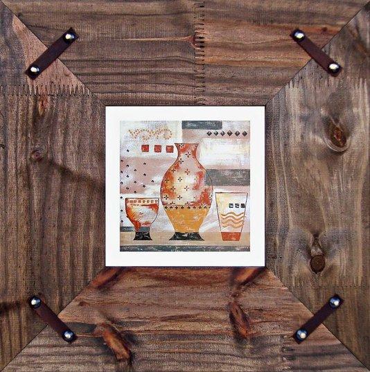 Quadro Decorativo Rústico com Tachas nos Cantos Vasos II - 40x40cm