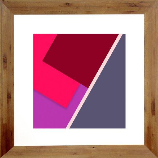 Quadro Abstrato Decor Ii com Moldura Rústica 82x82cm