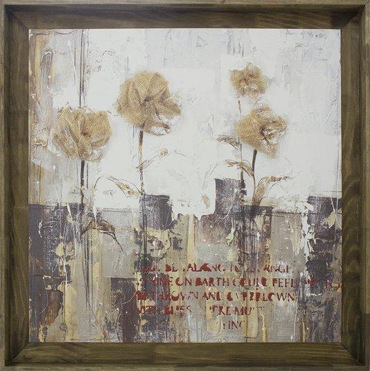 Quadro Tela Decorativa com Moldura Floral Abstrato 120x120cm