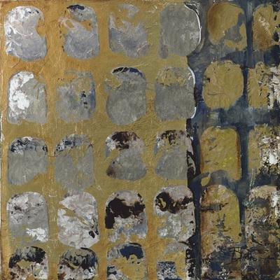 Gravura Abstrata para Quadros Ferrugem Dourada I de Patricia Pinto 60x60cm