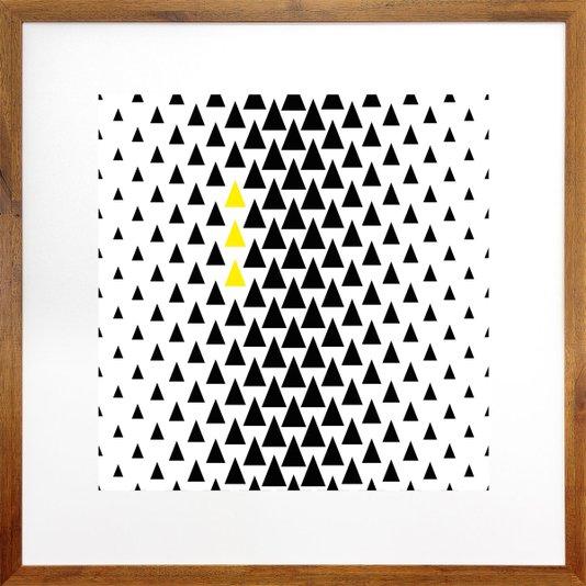 Quadro Decorativo com Moldura Rústica Arte Geométrica Triângulos 70x70cm