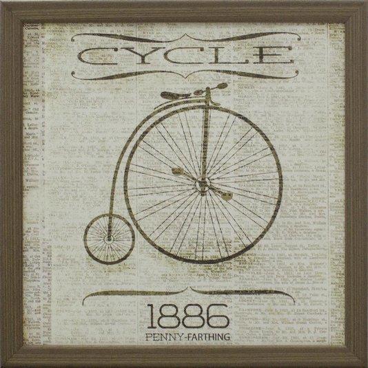 Quadro Vintage Decorativo Bicicleta de 1886 Panny-Farthing 30x30cm