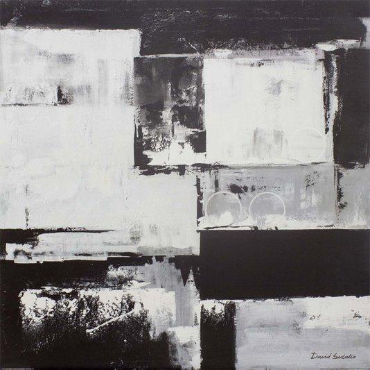 Gravura para Quadros Abstrato em Preto e Branco por David Sedalia 70x70cm