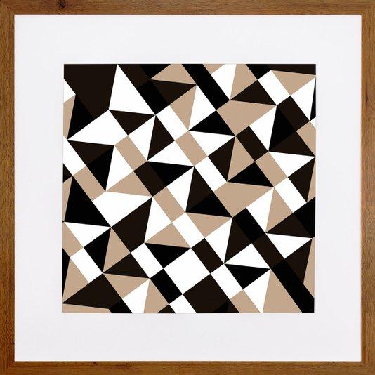Quadro Decorativo com Moldura Rústica Arte Geométrica Colorida II 70x70cm