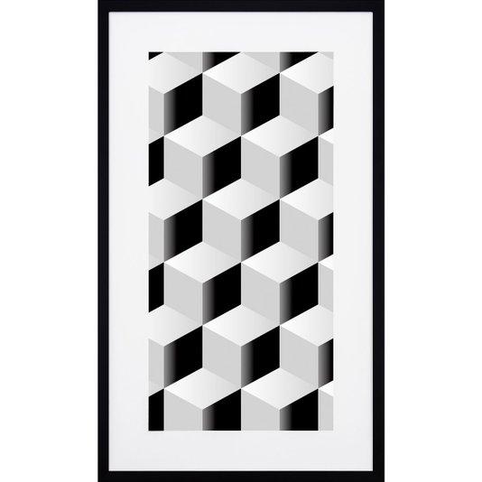 Quadro com Moldura Preta Desenho Geométrico Quadrados em Preto e Branco 50x90cm