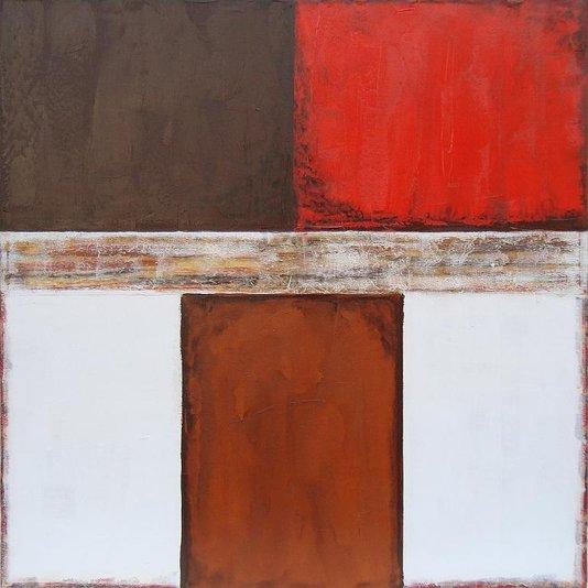 Quadro Abstrato Pintura em Tela Vermelho Branco e Marrom 120x120cm