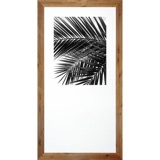Quadro Decorativo com Moldura Rústica Tropical Folhas de Palmeira 90x170cm