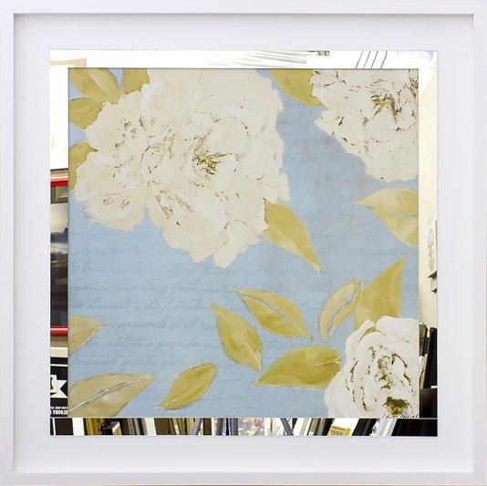 Quadro Decorativo com Espelho Floral Flores Brancas 80x80cm