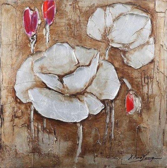 Quadro Tela Impressa Flor Branca e Vermelha 100x100cm