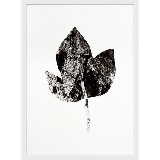 Quadro Decorativo Folha Minimalista com Moldura Branca 50x70cm