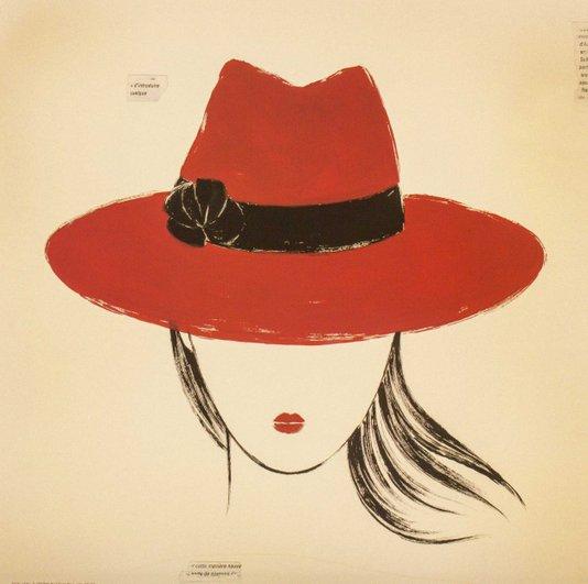 Gravura para Quadros Mulher com Chapéu Borsalino Vermelho 30x30cm