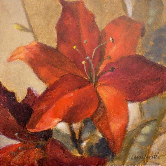 Gravura para Quadros Flores Vermelhas por Lanie Loreth II - 30x30cm