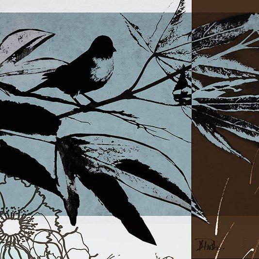 Gravura para Quadros Passarinho em Galho Arte de Patricia Pinto 46x46cm