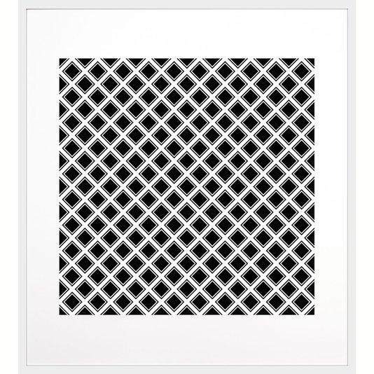 Quadro Geométrico Decorativo Preto e Branco com Moldura Branca 90x100cm