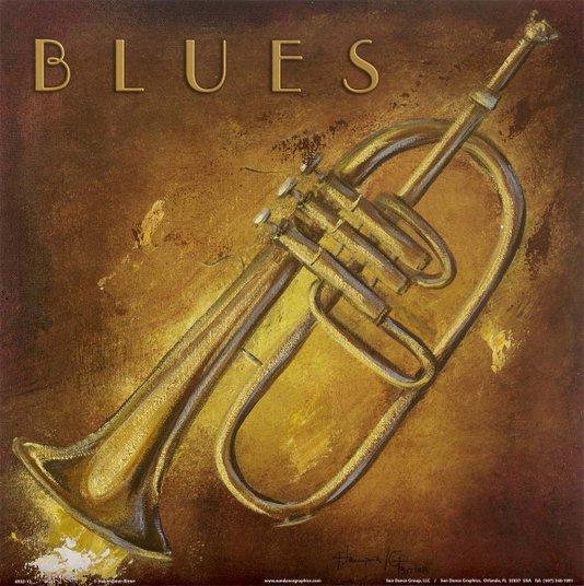 Gravura para Quadros Trompete Ritmo Blues 30x30cm
