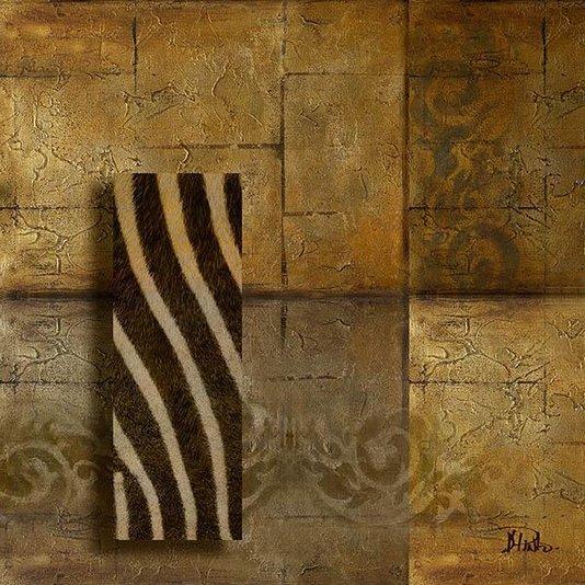 Gravura para Quadros Africana Fundo Abstrato com Detalhe Efeito de Zebra 30x30cm