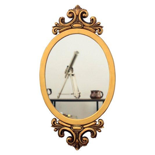 Espelho Decorativo Oval Dourado Envelhecido 50x100 Cm